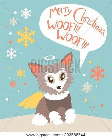 Christmas vector flat card with the cute puppy. New year holiday atmosphere, winter symbol. Dog Chinese Crested with the angel wings, felicitation in the bubble