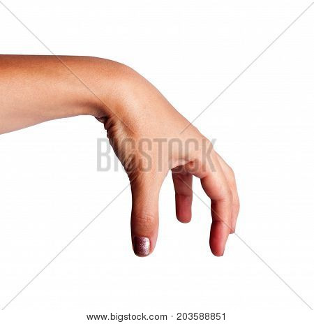 Woman hand holding something isolated on a white background