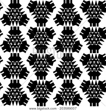 Black and white ethnic pattern. Abstract geometric vector seamless pattern. Black triangle on white background. Aztec seamless pattern tile. Boho pattern swatch for fabric textile. African wallpaper