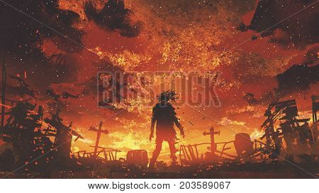 zombie walking in the burnt cemetery with burning sky digital art style illustration painting