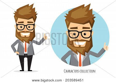 Positive guy smiling and recommended. Happy man in business suit. Laughing man showing thumbs up.