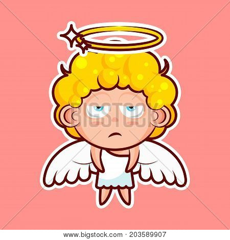 Sticker emoji emoticon, emotion, boredom, unperturbed, hopelessness, vector isolated character sweet divine entity, heavenly angel, saint spirit, wings, radiant halo on pink background for mobile app