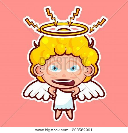 Sticker emoji emoticon, emotion swear, angry, lightning, vector isolated illustration character sweet divine entity, heavenly angel, saint spirit, wings, radiant halo on pink background for mobile app poster