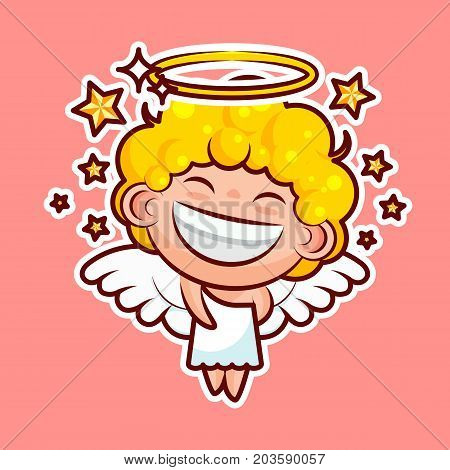 Sticker emoji emoticon, emotion walk, hang out, star, date vector illustration happy character sweet divine entity, cute heavenly angel, saint spirit, wings radiant halo pink background for mobile app