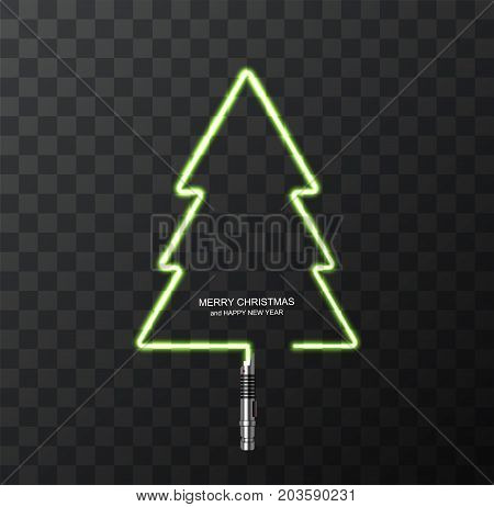 Vector modern concept Christmas tree and light swords on transparent background