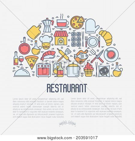 Restaurant concept in half circle with thin line icons: chef, kitchenware, food, beverages for menu or print media. Vector illustration for banner, web page.