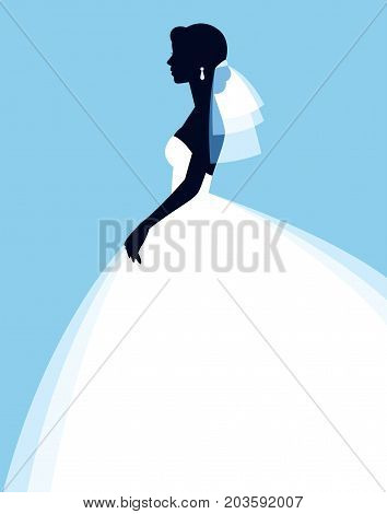 Portrait in profile silhouette of beautiful young bride in wedding dress stock vector illustration