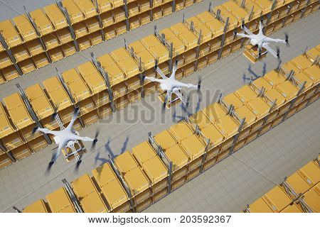 drones with boxes fly above the warehouse. 3d rendering