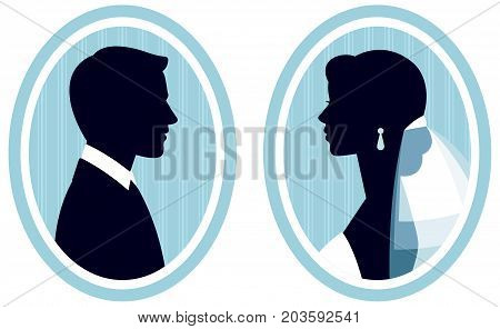 Portrait of a silhouette of the bride and groom in profile in the frame stock vector illustration