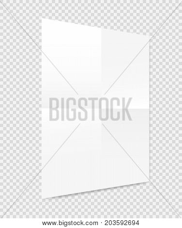 Folded white copybook, notebook paper sheet, brochure, leaflet with shadow on squared background