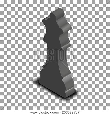Photo realistic black chess piece queen. 3D isometric style vector illustration.