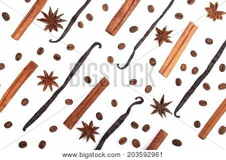 Vanilla sticks, cinnamon, coffee beans and star anise isolated on white background. Composition.