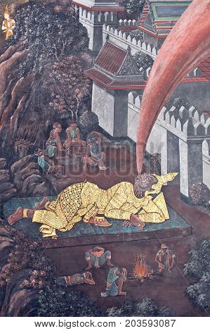Ancient Mural Painting With Scene From The Ramakien At Wat Phra Kaew Temple In Bangkok, Thailand