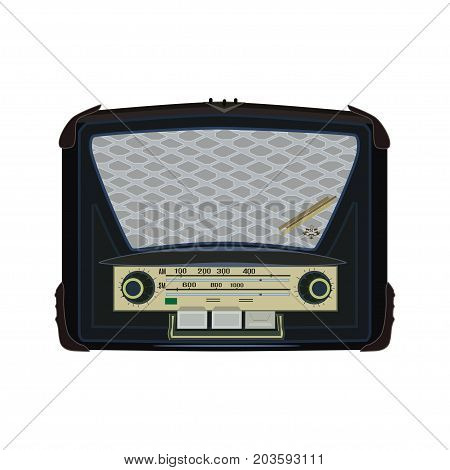 Vector illustration of retro radio. Electric radio icon isolated on white background. Flat style design.
