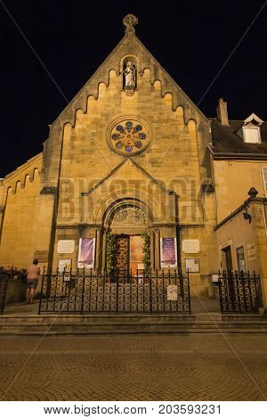 Paray Le Monial France - September 13 2016: Chapel of the revelation of the Lord Jesus Margaret Mary Alacoque in Paray Le Monial France. Very important place for Catholics