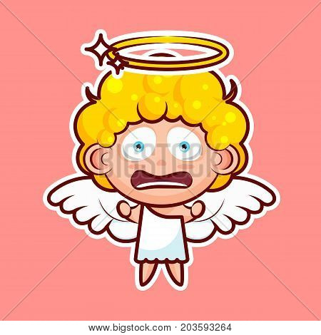 Sticker emoji emoticon emotion horrified screaming, clenched fists vector isolated illustration character divine entity heavenly angel, saint spirit, wings, radiant halo pink background for mobile app