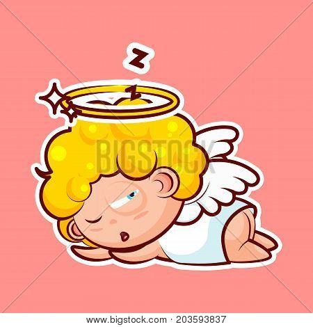 Sticker emoji emoticon, emotion sleep on stomach, lie down, doze, sleepy vector nap character sweet divine entity, heavenly angel, saint spirit angel wings, radiant halo pink background for mobile app