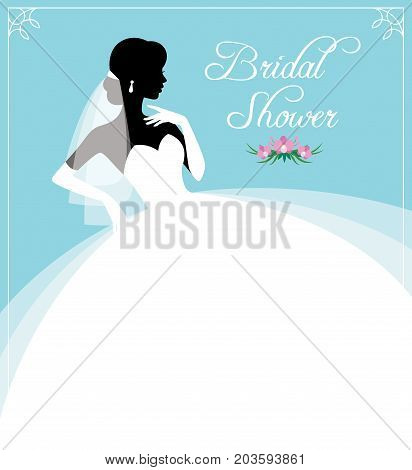 Flyer Or Invitation For A Bridal Shower. Silhouette Portrait Of A Bride In Profile In A Wedding Dres