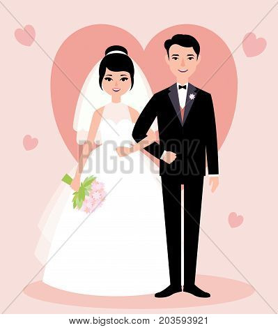 Newlywed Couple In Love Bride And Groom In Full Growth In A Flat Style
