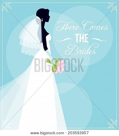 Template Flyer For The Bridal Shower Or For A Bachelorette Party. Silhouette Of Bride In Wedding Dre