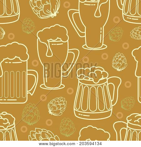 Beer seamless pattern. Vector background.  Graphic texture for restaurant template. Contains images of beer mugs, beer glasses and hop on brown  background.