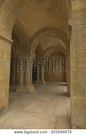 The basilica du Sacre Coeur in Paray-le-Monial France. Undercuts the entrance...