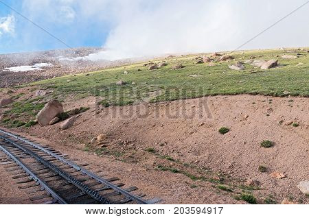 scenic route along historic cog railway near summit of pikes peak colorado usa