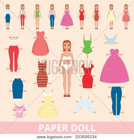 Paper Doll And A Set Of Different Fashion For Cutting