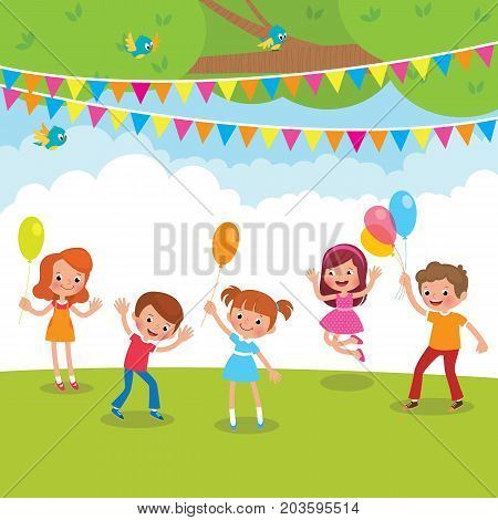 Group Of Children Playing With Balloons And Having Fun Outdoors