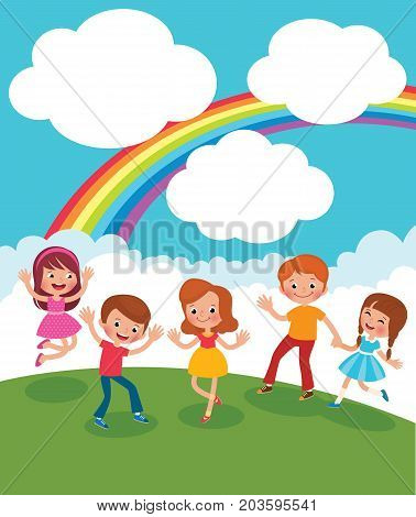 Group Of Kids Playing And Having Fun In The Meadow Under The Rainbow