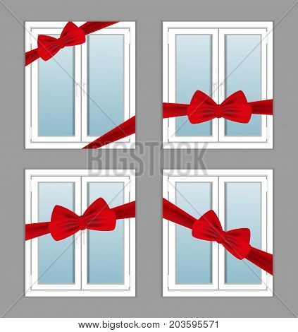 Windows plastic with red ribbon and bow as a gift. Set illustrations. Vector.