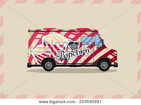 Popcorn cart, kiosk on wheels, retailers, sweets and confectionery products, and flat style isolated vector illustration. Snacks for your projects.
