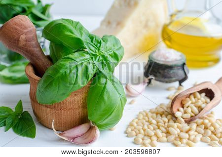 Fresh ingredients for pesto genovese sauce on white wooden table. Basil leaves in mortar Parmesan cheese pine nuts olive oil garlic and salt. Traditional Italian cuisine.