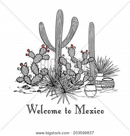 Cacti group. Prickly pear cactus, blue agaves, and saguaro. Welcome to Mexico hand drawn card. Vector illustration. Stylish palette Mountains background