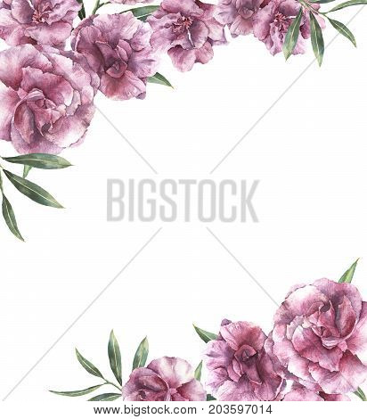 Watercolor floral invitation. Hand painted border with oleander flowers with leaves and branch isolated on white background. Botanical illustration for design, print, fabric