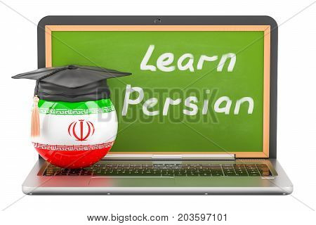 Learn Persian concept with laptop blackboard graduation cap and flag of Iran 3D rendering
