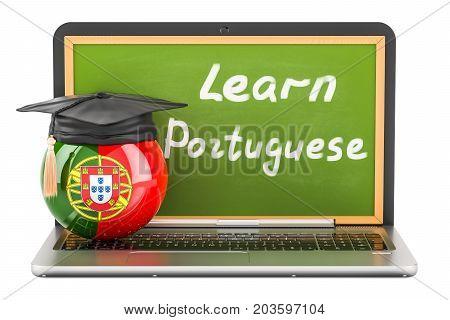 Learn Portuguese concept with laptop blackboard graduation cap and flag of Portugal 3D rendering