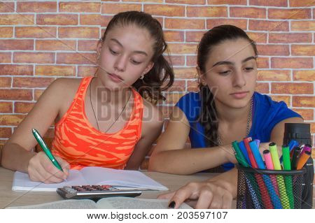 Two girls sitting at desk at home doing homework. Thoughts education creativity concept