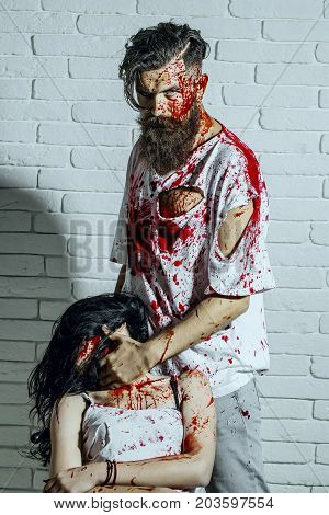 Halloween Man Putting Bloody Hand On Woman Neck
