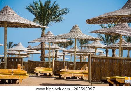 Relax and holiday. Sunny blue sky at resort. Beach straw umbrella with palm tree. Umbrella and beach bed. Summer vacation and traveling.