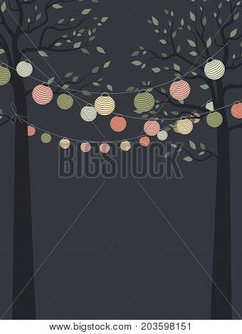 Vector illustration of trees with leaves and colored chain of lanterns. Invitation card, party celebration