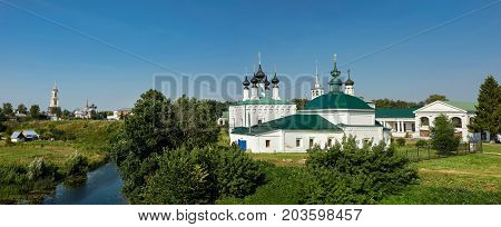 Panorama of the historical center of Suzdal located on the banks of Kamenka river. Vladimir region, Golden ring, Russia.