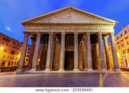 View of the Pantheon in the early morning. Rome. Italy.