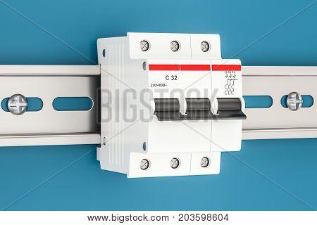 Three-pole miniature circuit breaker on the wall 3D rendering