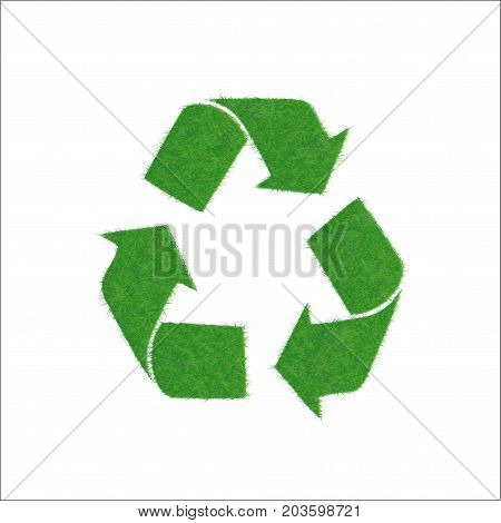 Vector illustration of a green cycle. Texture grass. Icon green sign of recycling, isolated on white background. Symbol of recycle, friendly relations to environment.