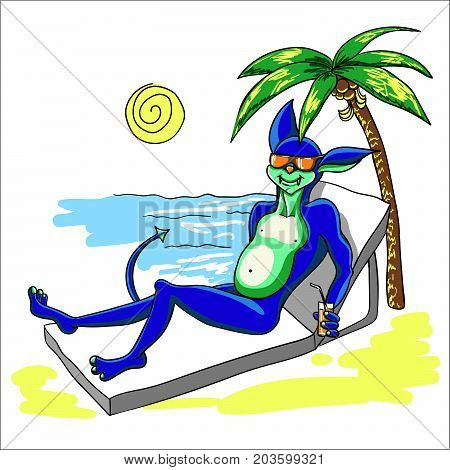 An alien with a tail on vacation is resting on the beach by the sea with a glass of juice in his hand. Sand and sun