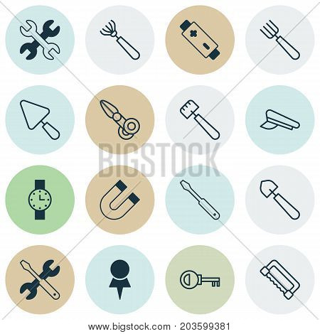 Equipment Icons Set. Collection Of Screwdriver With Wrench, Clippers, Putty And Other Elements