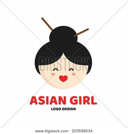 Cute beauty asian girl face logo template. Vector flat cartoon character illustration icon.Isolated on white background. Concept logo for asian food sushi restaurant,massage parlor, beauty saloon