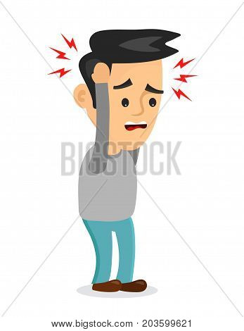 Vector flat illustration icon man with a headache, compassion fatigue, disease of the head, young man  holding his head. migraine, health problems and pain head, stress work, tired, suffer, emotion