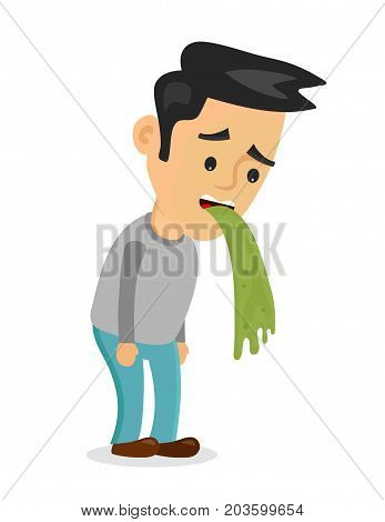 Young man vomiting puking. Vector flat cartoon character illustration icon.Isolated on white background. Vomit, food poisonong, alcohol poisoning concept